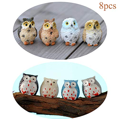 Himy 8 Pcs Miniature Fairy Garden Resin Owls Resin Figurine Craft Plant Pot Fairy Garden Landscape Decor -