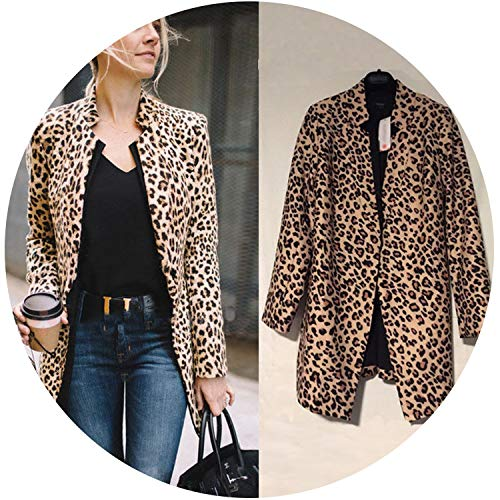 Women Leopard Sexy Winter Warm Jacket New Wind Coat Cardigan Leopard Print Long Coat Chaqueta Mujer