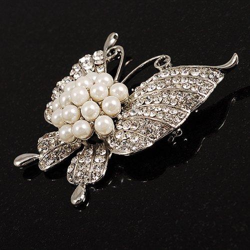 Broche Papillon Raffinée Cristal Style Perle