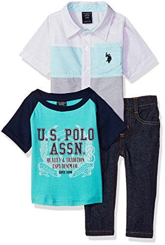 U.S. Polo Assn. Baby Boys Short Sleeve, T-Shirt and Pant Set, Blue/White Stripe Side Panel Multi Plaid, 24M