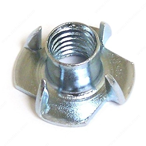 T nut with 4 prongs - Zinc, TNZ, Bolt Diameter/Size #10, Height 5/16 in