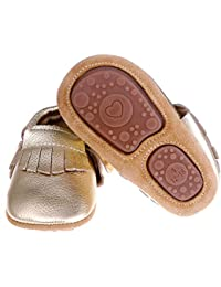 Baby Leather Shoes-Unisex Girls Boys Moccasins Rubber Sole