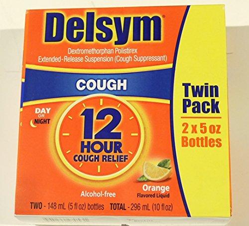 Delsym Cough Suppressant Alcohol Free Orange Flavored Liquid- 2 Pack, 5 ounces Bottle ()
