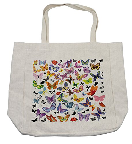 Lunarable Butterfly Shopping Bag, Colorful Wings Design with Ladybugs an Assortment of Summer Season Fauna Elements, Eco-Friendly Reusable Bag for Groceries Beach and More, 15.5