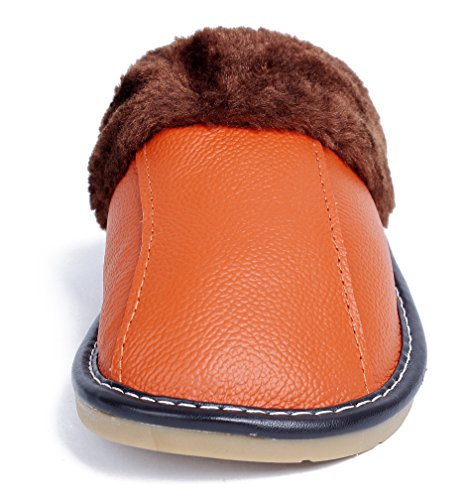 AgeeMi Shoes Women's Men Slip on Mules PU Warm Unisex Adults Indoor Slippers Orange O9kzu