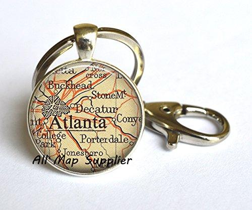 Charming Keychain,Atlanta map Keychain, Atlanta map Key Ring, Atlanta Keychain, Atlanta Key Ring, map jewelry,A0150