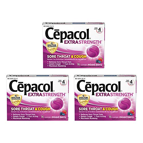 Sore Throat Relief Lozenges - Cepacol Extra Strength Sore Throat & Cough Drop Lozenges, Mixed Berry 48ct (3X16ct)
