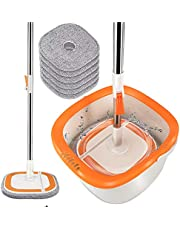 360 Self-Wringing 2 in 1 Spin Mop and Bucket System with Wringer,Comb,6PCS Reusable Washable Refills,Telescopic Handle for Most Types Floors Cleaning