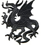 Black Flying Dragon Fire Fantasy Lucky Animal Rider Biker Tatoo Kid Jacket Patch Sew Iron on Embroidered Applique Sign Badge Costume