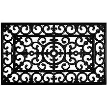 Home & More 900092436 Fleur De Lis Rubber Doormat, 2' x 3', Black