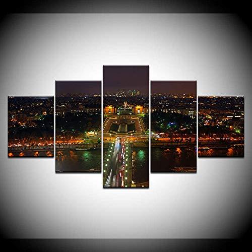 DGGDVP Extra Grande Ciudad de Nueva York Paisaje Urbano Imprimir Fondos de Pantalla de 5 Piezas Cartel Modular Moderno Pintura de Lienzo de Arte para Sala de Estar Decoracion Tamano 1 con Marco