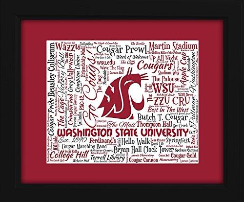 Washington State Cougars Framed - Washington State University (WSU) 16x20 Art Piece - Beautifully matted and framed behind glass