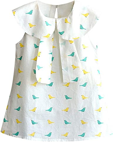 Toddler Sleeveless Leaf Print Bow Tie Summer Cute Dress 9-12 Months Green HINK Kids Dress for Girls Baby Girls Dress Skirt Sales