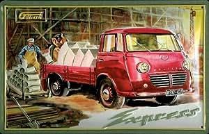 Diseño de furgonetas camiones Borgward Goliath Pritschenwagen con diseño retro de la Placa de publicidad
