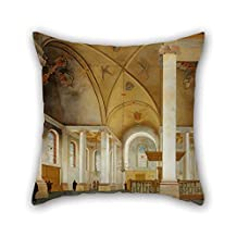 The Oil Painting Pieter Saenredam - The Nieuwe Kerk In Haarlem Pillow Covers Of 18 X 18 Inches/45 By 45 Cm Decoration Gift For Coffee House Teens Boys Deck Chair Him Bench Gf (double Sides)
