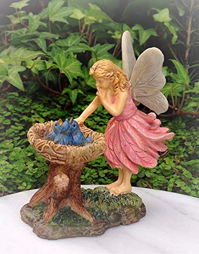 (Dollhouse Bluebird Nest Pink Fairy Girl Miniature Magic Scene Supplies Your Fairy Garden - Outdoor House Decor)