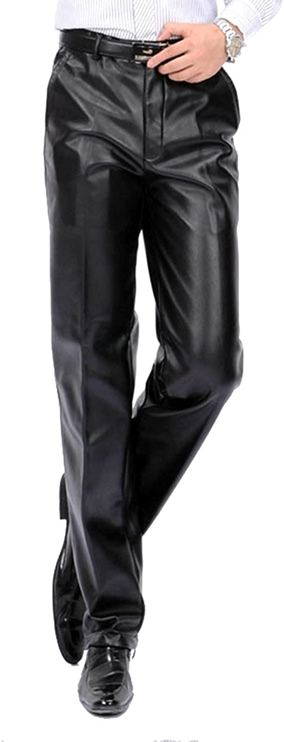 Idopy Men`s Classic Business Casual Regular-Fit Faux Leather Pants 30
