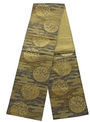 オーバーヘッド指定する幸福リサイクル 袋帯 丸に秋草文様 正絹 六通