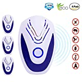 MATEHOM Ultrasonic Pest Repeller Indoor Plug In Pest Control Spider Mice Repellent with - Deters Flies, Wasps, Mosquitoes, Moths, Rats, Spiders & More (4 Pack)