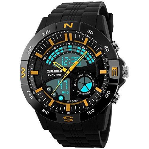 Nuevos Mens relojes deportivos natación Dual tiempo LED Digital cronómetro función Skmei resistente al agua reloj