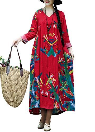 (Romacci Women Vintage Loose Dress Boho Contrast Print Long Sleeves Oversized Robe Maxi Long Dress)