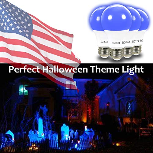 AmeriLuck 4-Pack Cobalt Blue Color A19 LED Bulbs with Black Light Effect, 7W (60W Equivalent), E26 Medium Base, Waterproof for Outdoor Use