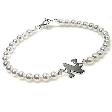 profiter de prix pas cher femme différemment Bracelet pour enfant avec perles et initiales en argent ...