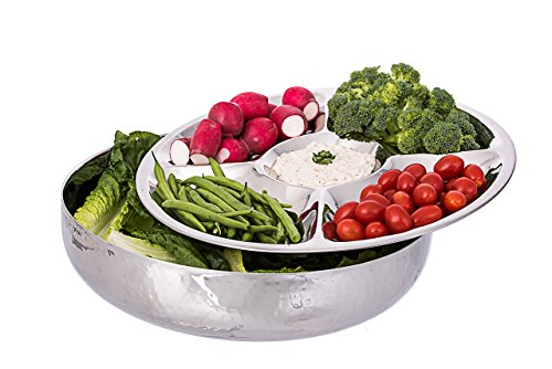 Stainless Steel 2 Piece 5-section Dish. Ice-chilled Revolving Appetizer Salad Party Bowl with Serving Tray+chip and Dip Set.