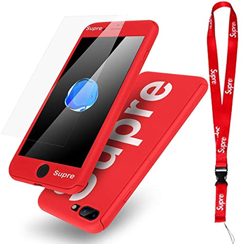 Cover Supreme Neck (B4Uebuy Supre iPhone 8 Plus/7 Plus Case With Lanyard, Ultra Thin Lightweight Supre Fashion Full Body Coverage Protection PC with Screen Protector/Neck Strap for Apple iPhone 8 Plus/iPhone 7 Plus (Red))