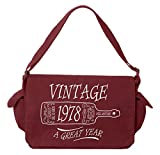 Tenacitee Aged Like a Fine Wine 1978 Maroon Brushed Canvas Messenger Bag
