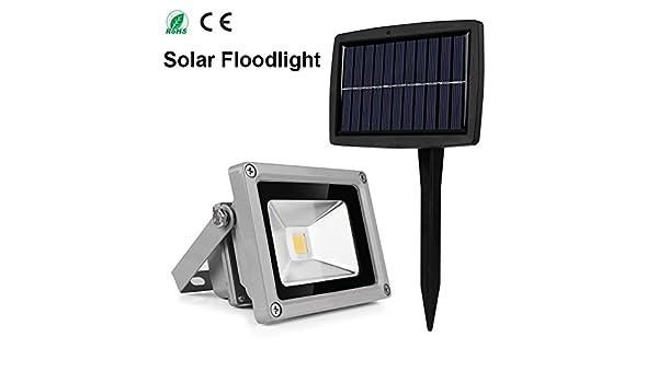 Amazon.com: Blanco cálido : Al aire Libre 10 W Reflector Solar impermeable led proyector lámpara al aire Libre del jardín del LED: Home & Kitchen