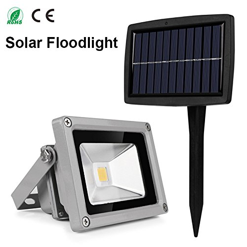 Amazon.com: Blanco : Al aire Libre 10 W Reflector Solar impermeable led proyector lámpara al aire Libre del jardín del LED: Home & Kitchen