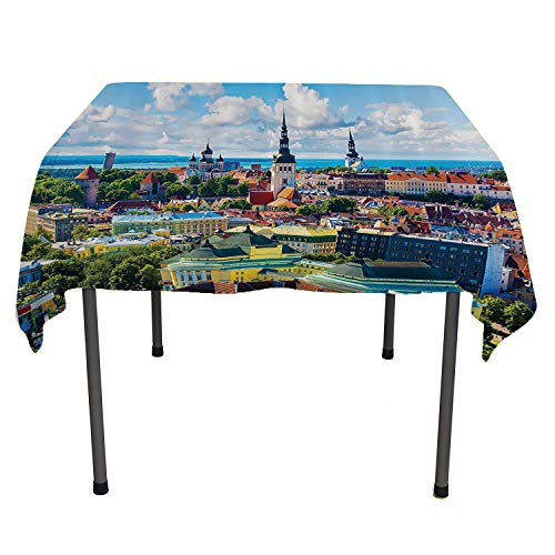 Deco Collection Buffet Displays - European Cityscape Decor Collection, Wipeable Table CoverScenic Summer of The Old Town Bright European Landscape with Sky Urban Mod Deco, for Kitchen Dining Party, 36x36 Inch Multi