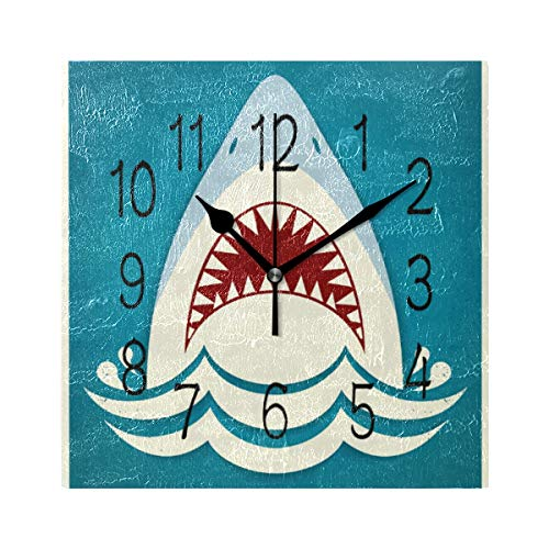 - Jojogood Shark Jaws Square Wall Clock Silent Non Ticking Acrylic Decorative Clock for for Home Decor Living Room Kitchen Bedroom Office School