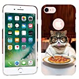 iPhone 7 Case / iPhone 8 Case - Pepperoni Pizza Cat Hard Plastic Back Cover. Slim Profile Cute Printed Designer Snap on Case by Glisten