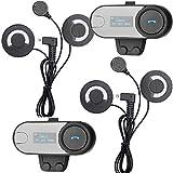 FreedConn 800M Helmet Communication Systems TCOM-SC Motorcycle Helmet Bluetooth Headset LCD Screen 2-3Riders Intercom Handsfree for Motorbike Skiing (2Pcs With Soft cable Headphone )