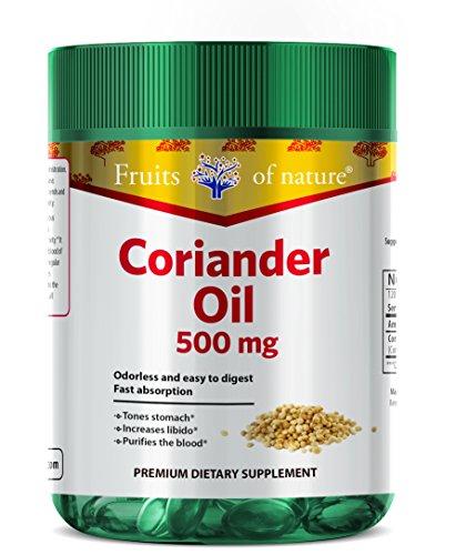 Coriander oil essential capsules 500 mg - Essential quick release softgels - Premium Herbal Dietary Supplement - by Fruits of Nature. by Fruits of Nature