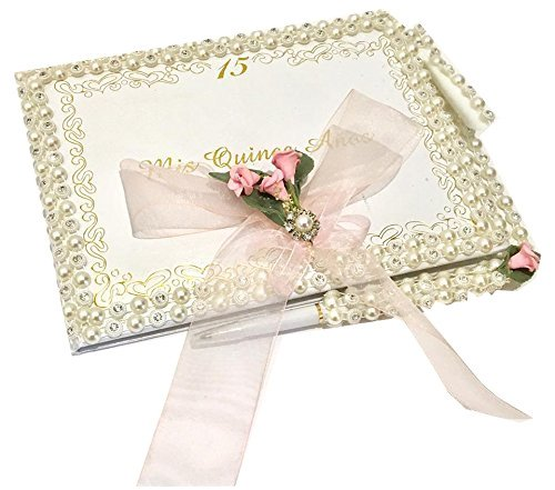 (Mis Quince Anos Quinceanera Rhinestones Guest Book with Pen Set)