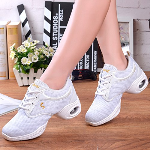 Sneakers Mesh YIBLBOX Breathable Trainers Mesh Shoes Double White Jazz Dance Boost Ballroom Heel Womens Lightweight xwTwq4Z0f