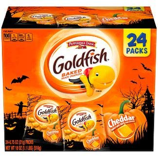 Pepperidge Farm Goldfish Crackers Halloween Snack Packs, Cheddar, 0.75 Ounces (Pack of 24)