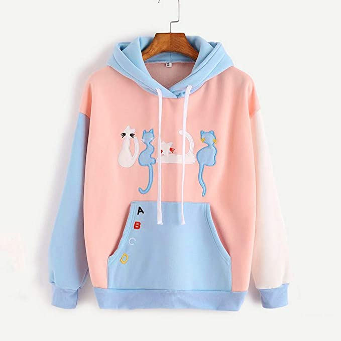9a27643718745c Amazon.com  UFACE Womens Hoodie Sweatshirt Long Sleeve Cat Printed Hooded  Pullover Tops Blouse  Clothing