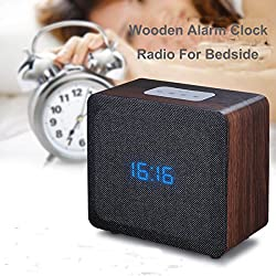 Samtronic Wooden Bluetooth Alarm Clock Radio Speaker, Bluetooth Bedside Stereo Speaker Built-in Microphone, 3.5mm Audio Port, Support TF Card and USB MP3 Player Hi-Fi Surround Sound Speaker-Black