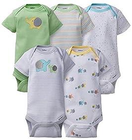 Gerber Baby 5 Pack Onesies, Elephants, 0-3M