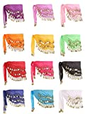 Zhanmai 12 Pieces Belly Dance Skirt Hip Skirt 12 Colors Waist Chain Dance Hip Scarf Belt with Dangling Gold Coins