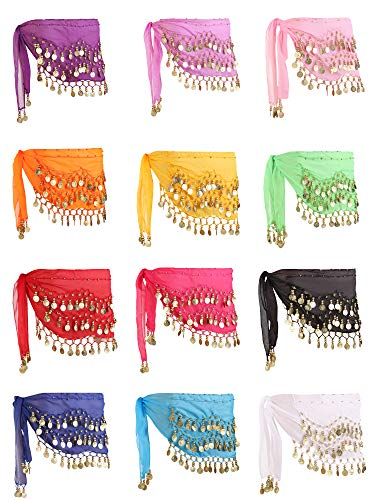 Zhanmai 12 Pieces Belly Dance Skirt Hip Skirt 12 Colors Waist Chain Dance Hip Scarf Belt with Dangling Gold Coins (Scarf Coin Belt Belly Dance)