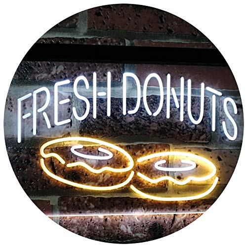 ADVPRO Fresh Donuts Home Décor Dual Color LED Neon Sign White & Yellow 16