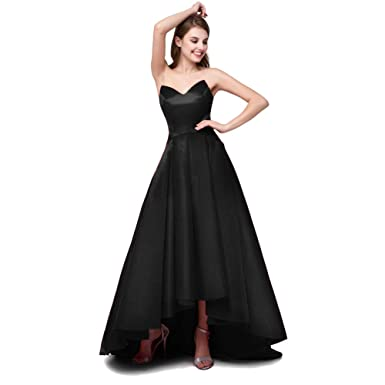 7f10b7c8a4a High Low Prom Dresses Womens Aline Satin V Neck Formal Evening Party Gowns  with Pockets Black