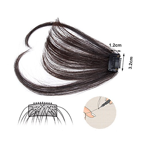 HIKYUU Bangs Hairpiece Clip-in Front Straight Hair Bangs Extensions without Temples Natural Black 100% Real Remy Human Hair Natural Looking by HIKYUU (Image #5)