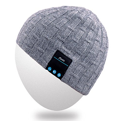 Rotibox Winter Fashional Bluetooth Beanie Hat Cap Double Knit with Wireless Headphones Headsets Earphone Removal Speakers Microphone Hands Free for Running Skiing Skating Hiking,Christmas Gifts - Gray
