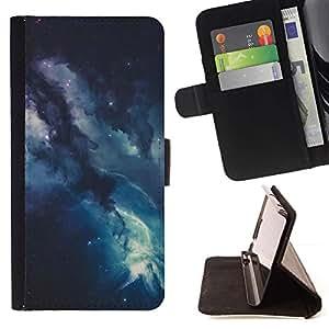 For HTC One Mini 2 M8 MINI Case , Universo de las estrellas azules Cosmos- la tarjeta de Crédito Slots PU Funda de cuero Monedero caso cubierta de piel